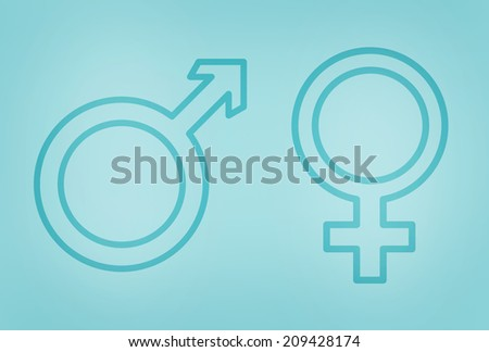 Male and female gender symbols on blue