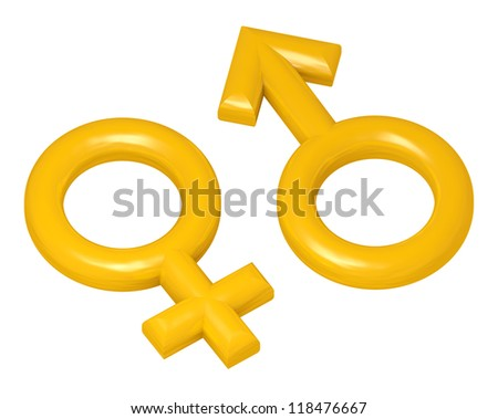 male and female golden sex symbols