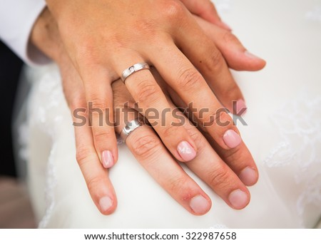 male and female hand with a wedding rings