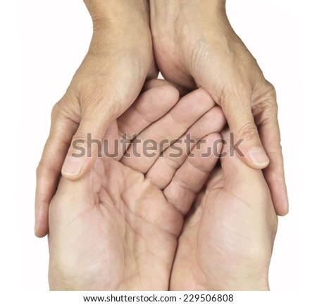 Male and female hands in gentle embrace on white background - stock photo