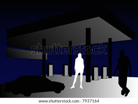male and female in petrol station