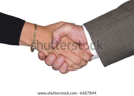 Male and female partners shaking hands after a negotiating a contract agreement - stock photo