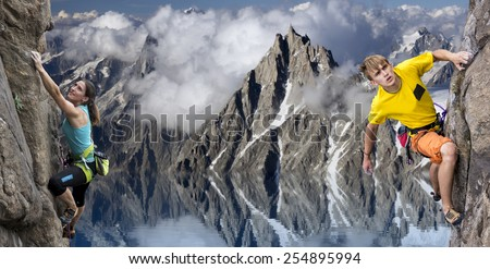 Male and female rock climbers against alpine background. Young male and female extreme sportsmen climbs the rocks. Impressive high mountain landscape reflecting in the lake on the background - stock photo