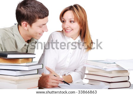 Male and female student learning and helping each other kindly