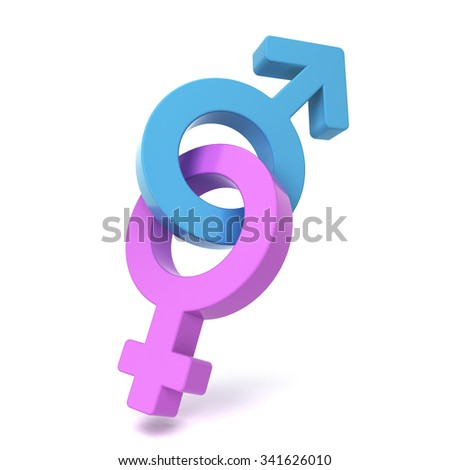 Male and female symbols crossed. 3d illustration isolated on white background
