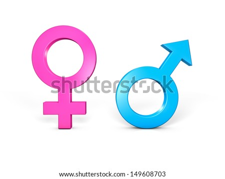Male and Female symbols. Isolated in white