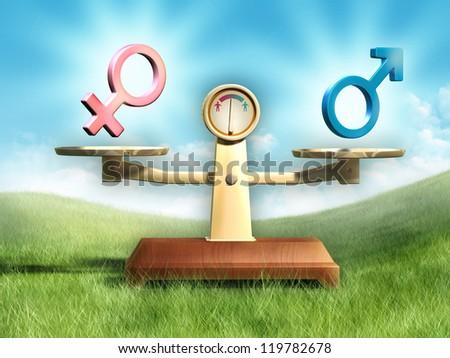 Male and female symbols on a balance scale. Digital illustration.
