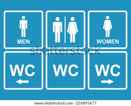 Male and female WC icon denoting toilet and restroom facilities for both men and women with black male and female,arrows,pointer, silhouetted figures