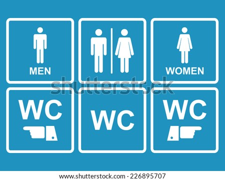 Male and female WC icon denoting toilet and restroom facilities for both men and women with black male and female,hand,pointer, silhouetted figures