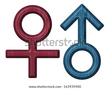 Male and female wooden signs Isolated on white background