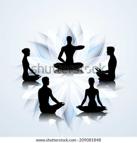 Male and female yoga silhouettes on the lotus background - stock photo