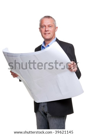 Male architect holding a set of building plans, isolated on a white background. - stock photo