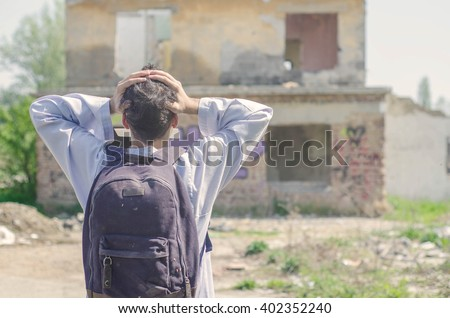 Male asylum seeker on the path to a new life - stock photo