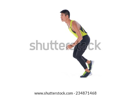 Male athlete running - isolated over a white background - stock photo