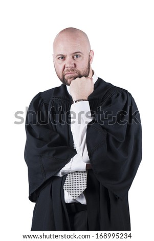 male bald  attorney in black robe standing  - stock photo