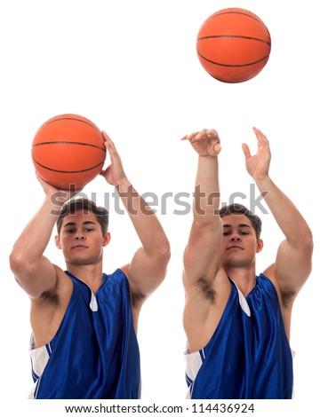 Male basketball player. Studio shot over white. - stock photo