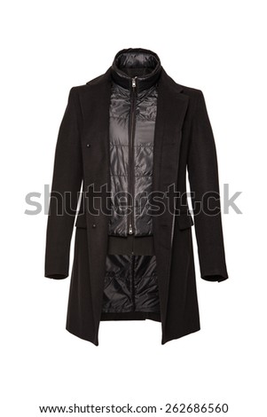 male black coat over a white background - stock photo