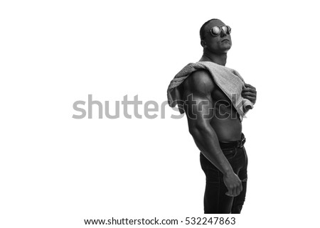 male bodybuilder athlete with naked torso with a towel on white background