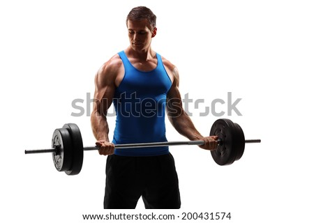 Male bodybuilder exercising with a barbell isolated on white background - stock photo