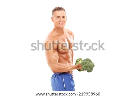 Male bodybuilder holding a broccoli dumbbell isolated on white background - stock photo