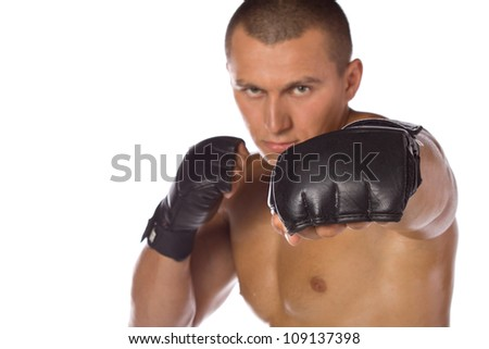 Male boxer, a fighter. Sports. - stock photo