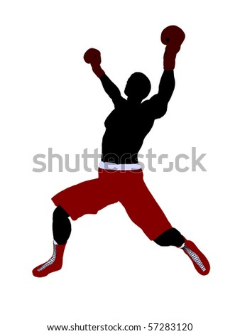 Male boxer art illustration silhouette on a white background