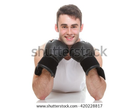 Male boxer isolated on white
