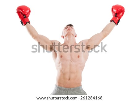 Male boxer praying or searching for inspiration with both hand in the air on white background - stock photo