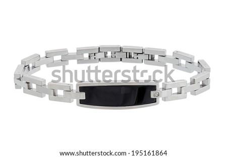 male bracelet isolated on white - stock photo