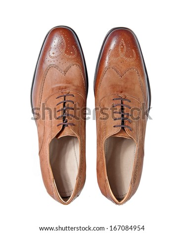 male brown leather shoes isolated on a white, top view - stock photo