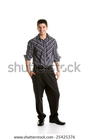 Male Business Model in black pants and grey stripped shirt