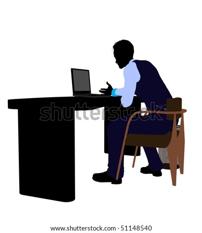 Male business silhouette illustration on a white background