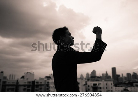 Male businessman holding his fist up in celebration. - stock photo