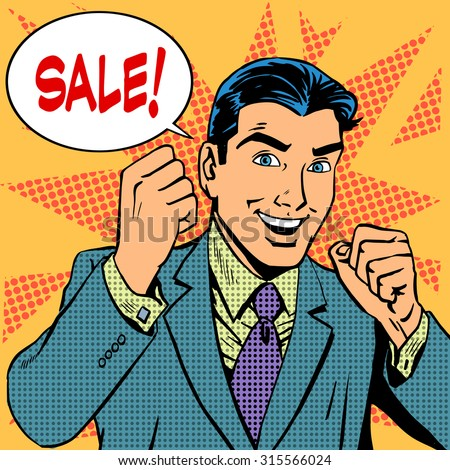 Male businessman sale sales discount store shopping. Retro style pop art - stock photo