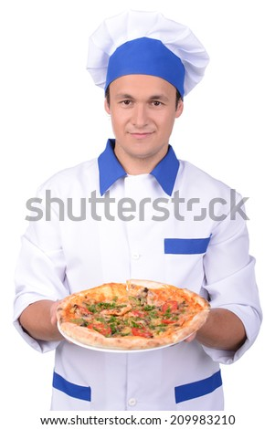 Male chef cooking pizza. isolated on white background - stock photo