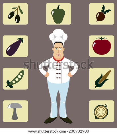 Male Chef Icons Set. - stock photo