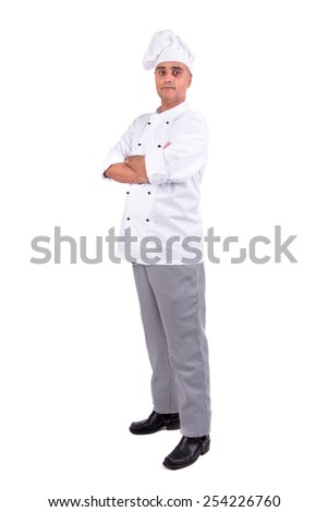 Male chef posing isolated on white background - stock photo