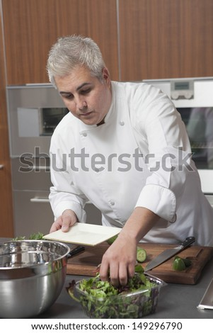 Male chef preparing salad in commercial kitchen - stock photo