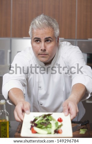 Male chef presenting freshly prepared side salad in commercial kitchen - stock photo