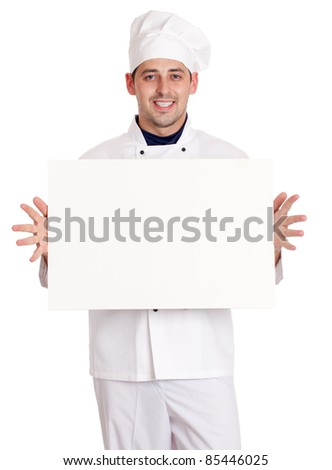 Male chef with menu. isolated over white background