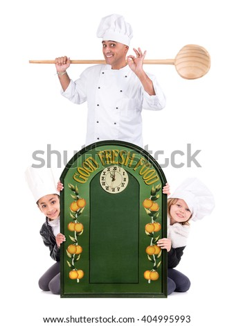 Male chef with young chefs isolated on white background