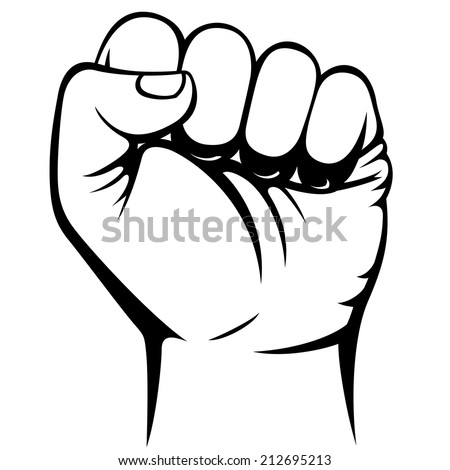 Male clenched fist hand illustration raster version