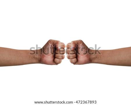 Male clenched fist hands on a white background.