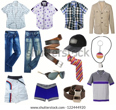 male clothes collection isolated on white - stock photo