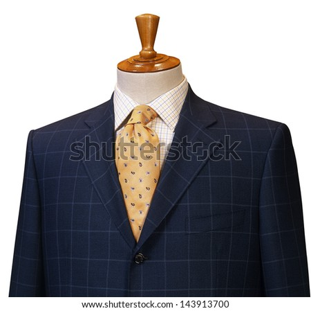 Male clothing suit on stand isolated white - stock photo