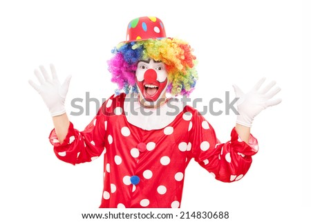 Male clown gesturing with hands isolated on white background - stock photo