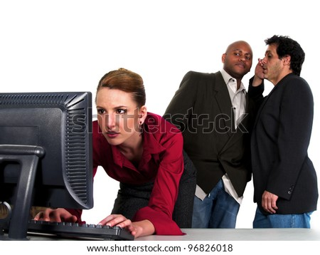 male co workers gossiping bout female co worker - stock photo