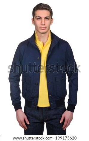 Male coat isolated on the white - stock photo