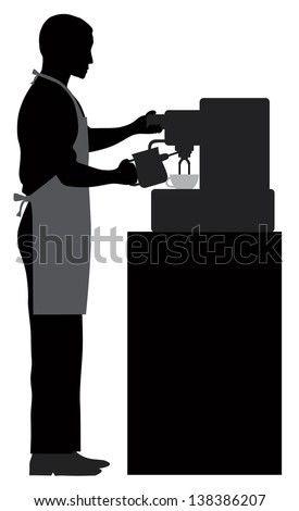 Male Coffee Barista Silhouette Making Espresso and Steaming Milk with Espresso Machine Raster Vector Illustration