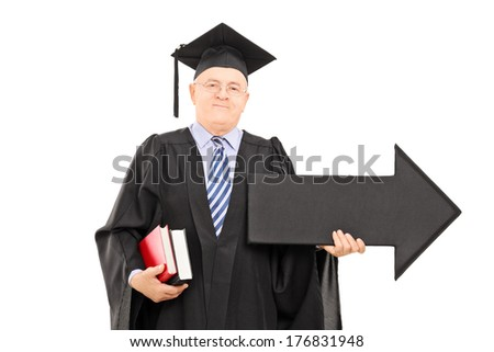 Male college professor holding big black arrow pointing right isolated on white background
